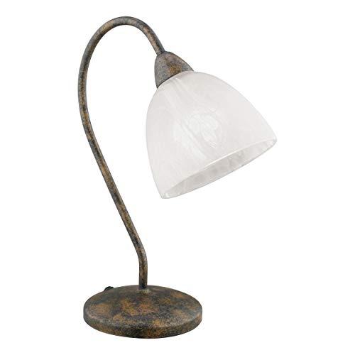 EGLO Tischlampe Dionis, 1 flammige Tischleuchte Vintage, Rustikal, Nachttischlampe aus Stahl und Alabaster-Glas, Wohnzimmerlampe in Rostfarben, weiß, Lampe mit Schalter, E14 Fassung