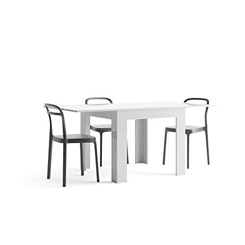Mobili Fiver, Tavolo Allungabile, Eldorado, Bianco Lucido, 90 x 90 x 77 cm, Nobilitato, Made in Italy, Disponibile in Vari Colori