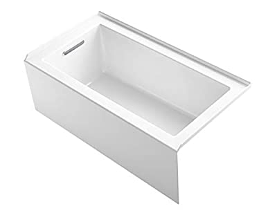 "KOHLER 1957-LA-0 Underscore(R) 60"" x 32"" Bath Apron, Integral Flange and Left-Hand Drain Alcove Bathtub, White"
