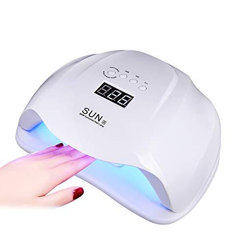 Lampe UV Ongles Gel 54W Sèche-ongles LED Lampe UV Professionnelle Portable Séchoirs à Ongles Lumière Blanche Lampe à Polymériser Nail Art Cadeau pour Femme Fille