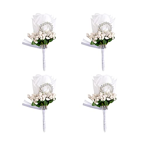 Lot de 4 boutonnières de mariage faites à la main - Fleurs artificielles avec broche et clip - Accessoire de mariage pour homme marié - Costume de mariée - Robe de banquet de fête (blanc)