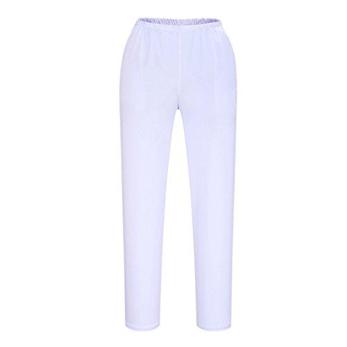 shane&shaina Pantalones de Trabajo Enfermera Doctor Largo párrafo Pantalones (Mujer-Blanco, M)