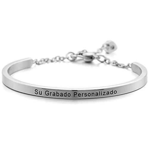 MeMeDIY El Tono De Plata Acero Inoxidable Pulsera Brazalete Manguito Corazón Heart Ajustable - Grabado Personalizado