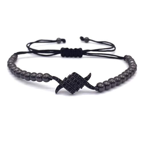 WHFDRHSZ Armband Armreifen Klaue Charm Armbänder Pflastern Schwarz Cz Perlen Geflochtene Macrame