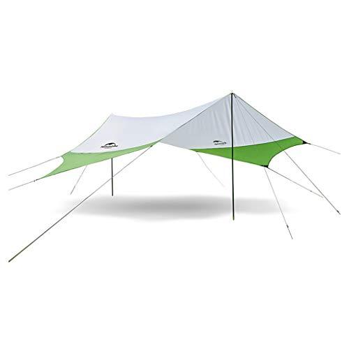 Parasols Auvent Hexagonal extérieur Protection Solaire UPF50 + Anti-UV Tente de Plage abri auvent auvent Camping pergola (Color : Green, Size : 400 * 350cm)