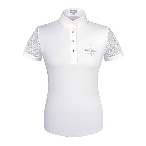 Fairplay Damen Turniershirt Cecile weiß mit Spitze und Strass, Größe:36