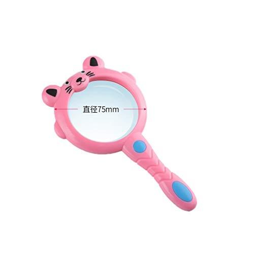MAGF Cartoon Lupe Handspielzeug Lupe Für Kinder Kinder Studenten Schüler Lesen Niedlich Insektenbetrachter Grün Rosa Blau Große Lupe (Color : Pink, Size : 55MM)