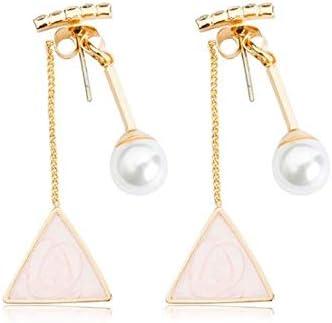 Pearls long tassel triangle earring