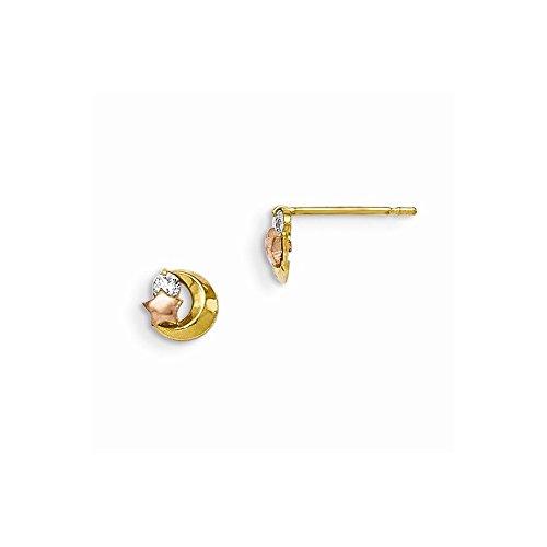 Oro amarillo de 14K amarillo y oro rosa Madi K CZ Luna y estrella Publicar Stud Pendientes para las mujeres