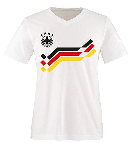 EM 2016 - Retro-Trikot - WUNSCHDRUCK - Herren V-Neck T-Shirt - Weiss/Schwarz-Rot-Gelb Gr. L