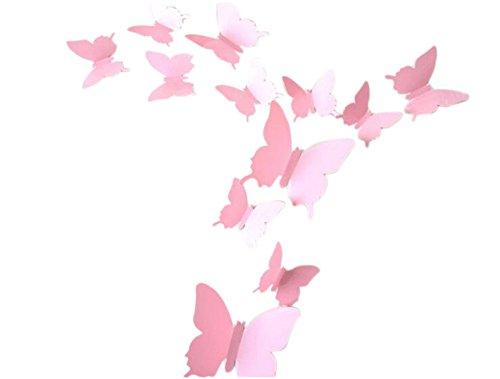 Demarkt Stickers Muraux en Papillon 3D Sticker Mural Autocollants PVC Reutilisable Papillons Papiers Décoration pour Chambre Salon Room - Rose 12 Papillons(Contient: 12cm-2, 10cm-2, 6.5cm-8)