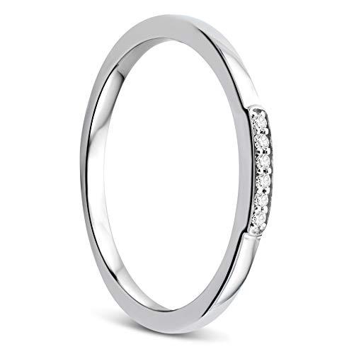 Orovi Damen Ring Weißgold 0.03 Ct Diamant Verlobungsring Ehering Trauring 9 Karat (375) Gold und Diamanten Brillanten