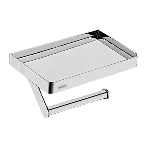 Baños Complementos Titular del papel higiénico con el estante del teléfono Accesorios de baño de acero inoxidable Accesorios de tejido Rollo dispensador de pared Montado en la pared Portarrollos Baño