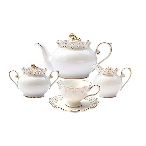 SHYPT 15 Piezas Inglesa Tarde Conjunto de té té Negro Tetera Taza de té Sala de Estar Hueso Hueso China Tazas de café