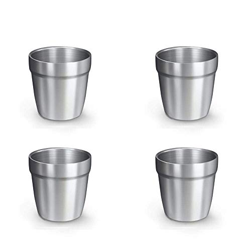 BeGrit Set van 4 RVS Bekers Dubbele Muur Geïsoleerde Metalen Bekers Stapelbaar en Onbreekbaar Drinkbekers Rimless Sweat Gratis Bier Tumbler voor Cocktails Koffie Thee Smoothies