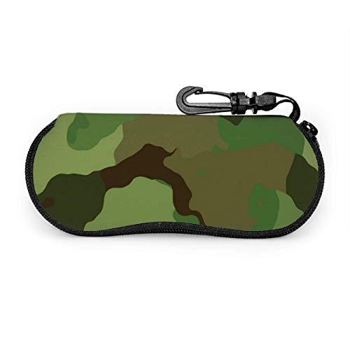 Carneg Estuche para gafas con textura de camuflaje militar Estuche para gafas de sol Estuche para gafas con cremallera de neopreno ultraligero con mosquetón personalizado