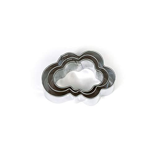 DTM-SOL Lot de 3 minis emporte-pièces Nuages en INOX Alimentaire, Diamètre 2,3,4 cm
