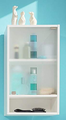 MJC Badezimmer-Hängeschrank Denver Gäste WC Glas Weiß