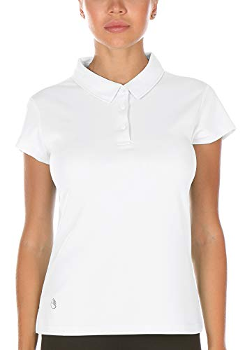 icyzone Damen Poloshirt Atmungsaktiv Fitness Sport Kurzarm Shirt (M, Weiß)