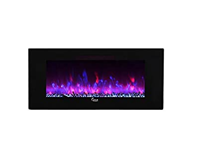 """Caesar Fireplace Linear Wall Mount Recess Freestanding Flame Electric Fireplace, 50"""", Multicolor"""