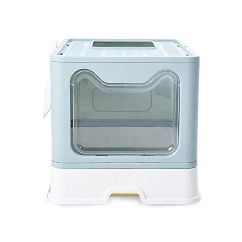 Meipire - Caja de arena plegable para gatos, entrada frontal (con panel de puerta) y salida superior supergrande, con bandejas extraíbles+cucharas de arena (azul)