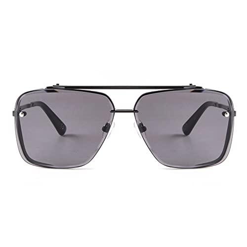 ADE WU Gafas de sol para hombre Gafas de sol clásicas Tony Stark Aviator Marco de metal cuadrado para mujer con lente mejorada