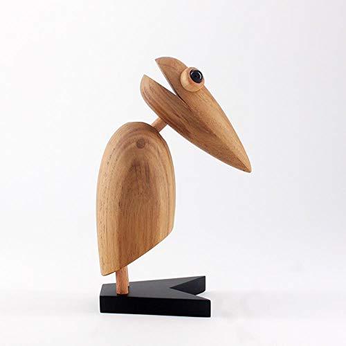 HEYJO Adornos para pájaros carpinteros Artesanías en Madera de Teca nórdica artesanía en Madera Tarjetero Adornos de Animales, 18 cm de Alto
