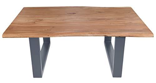 Sit Furniture Tafel salontafel 120x80 cm plaat acacia, frame staal L = 120 x B = 80 x H = 45 cm plaat antieke afwerking gelakt en gewaxt, frame antiek zilver