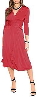 KRISP Vestido Mujer Verano Corto Cruzado Casual Estampado Bohemio Flores