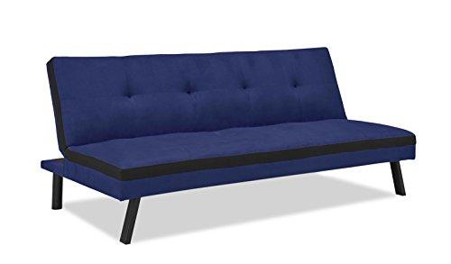 Mobilier Deco Banquette clic clac Convertible 3 Places en Tissu Bleu et Noir Couchage 2 Personnes