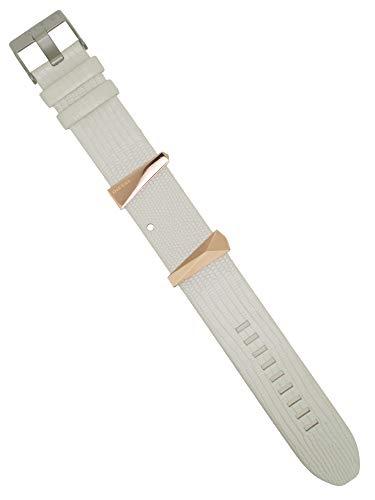 Diesel Correa de reloj intercambiable LB-DZ5585 de piel, 24 mm, color blanco y rosa