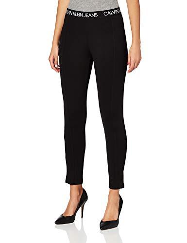 Calvin Klein Jeans Damen Logo Elastic Milano Leggings Hose, Ck Black, 28