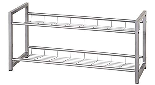 Haku Möbel Schuhregal - Stahlrohr Aluoptik 2 Ablagen-8 Paar Schuhe Breite 80 cm