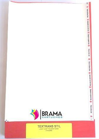 Bramacartuchos 10 fogli di carta trasferibile, per magliette bianche e tessuti in cotone, per stampanti laser, (inserire dal lato lungo) Hp, Brother, Canon, Samsung
