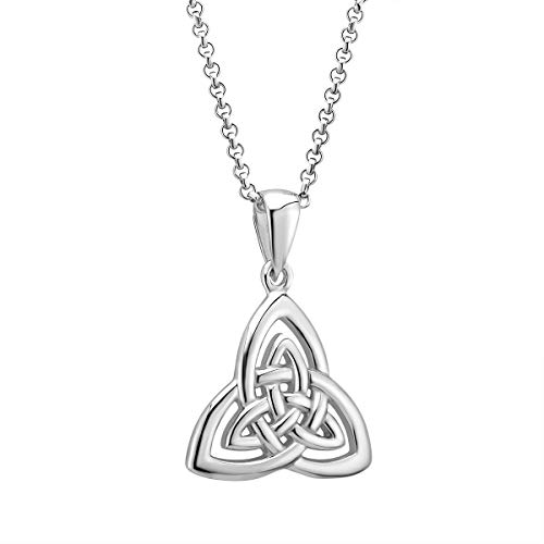 """Trinity Necklace Sterling Silver Hallmarked at Irish Assay Office in Dublin Castle 20"""" with 2"""" Extension Chain & Easy to Use Lobster Clasp Made in Ireland"""