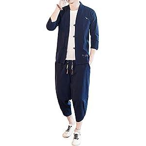 [上海物語] メンズ 綿麻 上下セット カジュアル 中華服 セットアップ ルームウエア 半袖 七分袖 ヨガ 中華風 カンフー 通気性 薄手 ネイビーブルー サイズ 3XL