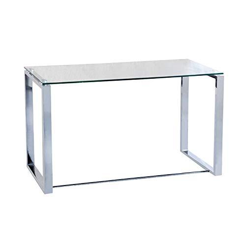 Benetto, Mesa de Cristal para Estudio, Escritorio, Despacho o Oficina, Acabado en Cristal y Cromo, Medidas: 100 cm (Largo) x 50 cm (Ancho) x 75 cm (Alto) ✅