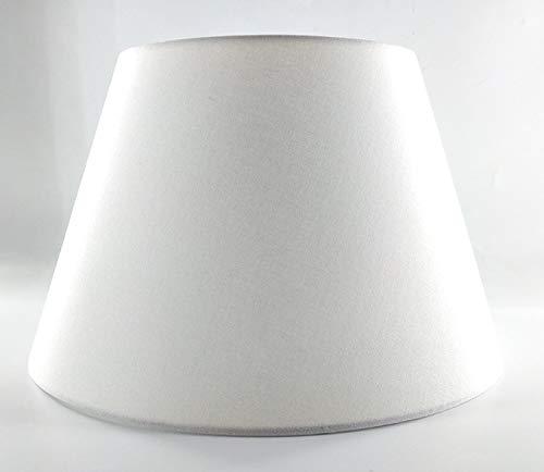 Lampenschirm-weiss-Leinen-rund-konische Form Ø 40cm
