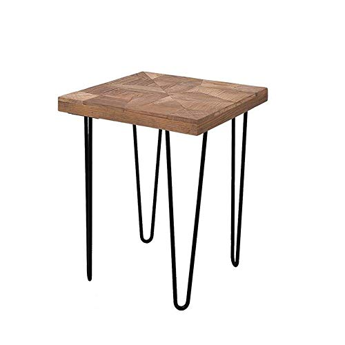 Bed Table, Tables Square Side Table, Balcony Flower Stand, Wood Grain Rack, Hairpin Metal Feet, End Tables Living Room Coffee Table Color : Wood, Size : 15.7415.7420.47in