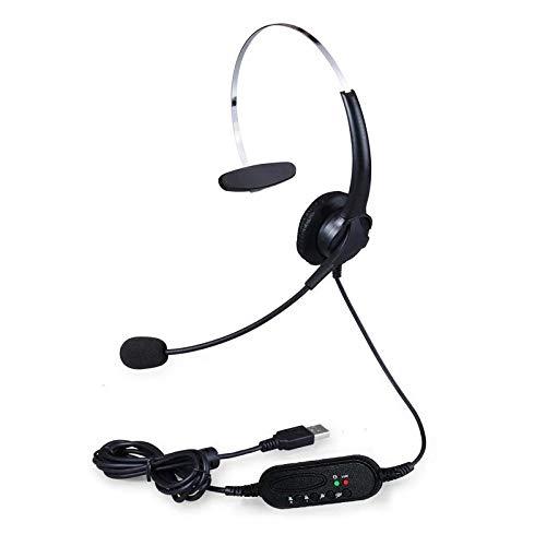 Fulvit 101U Interfaz USB Teléfono Teléfono Auriculares controlados por Cable de un Solo Hilo con micrófono Giratorio de 300 Grados