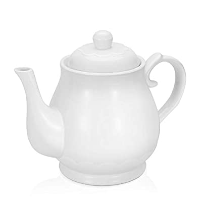 Flexzion Porcelain Teapot, Ceramic Tea Pot w/Removable Lid, Beverage Serveware Set for 2-3 Tea Cups, Coffee Mugs, Modern English Classic Style, Microwave Oven & Dishwasher Safe - 22 Ounce, Pure White