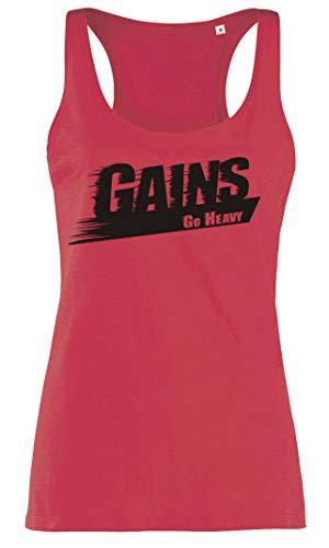 GO HEAVY Racerback Sport Top Damen Tank | Ärmelloses Gym Fitness T-Shirt Yoga Oberteil | Gains | Rot S