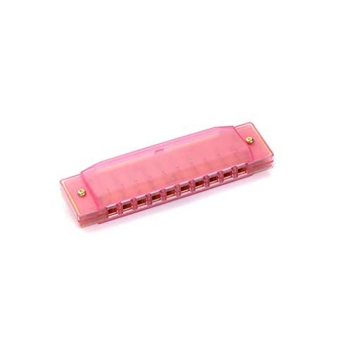 KMDSM Mundharmonika, Transparent Solid Color C-Stil Praxis Mundharmonika, 10-Loch-Design, kann als Geschenk (blau / Grün / Orange / Pulver) verwendet Werden ( Color : Pink )