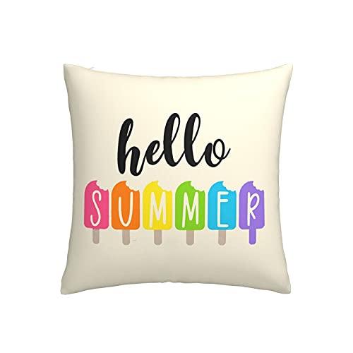 LOOU Hello Summer Popsicles - Funda de cojín cuadrada para sofá, cama, coche, 45,7 x 45,7 cm