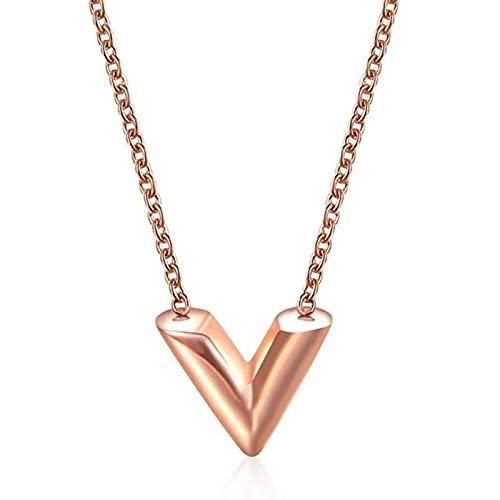 TTGE Collar de Acero Inoxidable con Letra V, Colgante de Alfabeto de Oro/Oro Rosa para Mujer y niña, joyería de Marca Famosa, Amigo