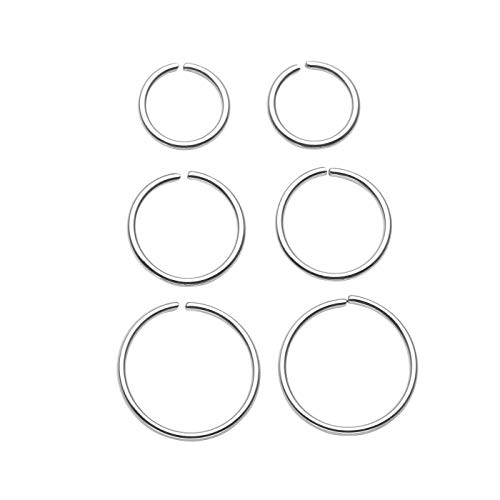 JSDDE 6pcs 20G Stainless Steel Nose Ring Hoop Septum Lip Tragus Earring...