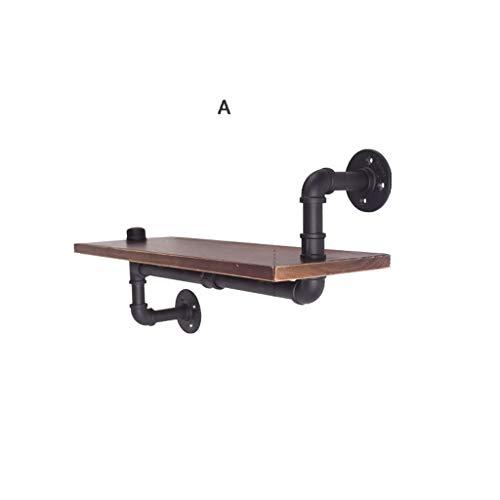 Wenhui Pine & Industrial DIY Pipes Clayettes Steampunk Rustic Urban Bookshelf - Tablettes en Bois Flottant - Longueur de 22 po (Couleur : B)