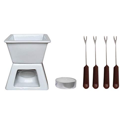 InnerSetting Weiße Keramik-Schmelz-Fondue-Set, hohe Temperaturbeständigkeit, langlebig, stylisches Schokoladen-Set (BLX-2)