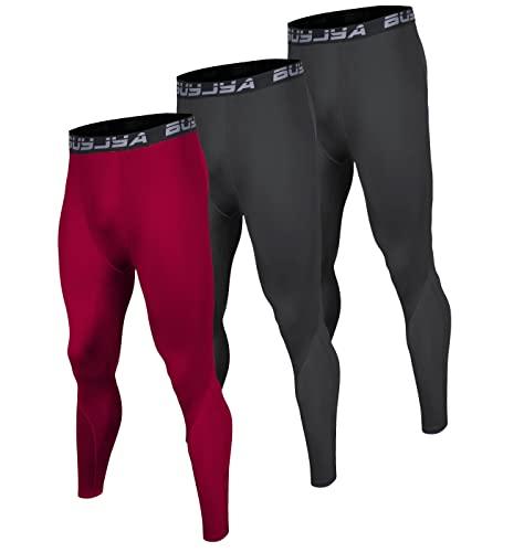 BUYJYA 3 Pack di pantaloni a compressione da uomo in esecuzione collant allenamento leggings atletici Cool Dry Yoga palestra vestiti - - L