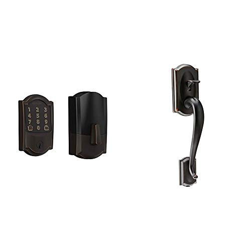 Schlage Lock Company BE489WB CAM 716 Schlage Encode Smart WiFi Deadbolt with Camelot Trim in Aged Bronze, Lock & Lock Company Camelot Front Entry Handle Georgian Interior Knob (Aged Bronze)
